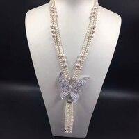 Qi Xuan_Jewelry Set_S925 посеребренные Белое золото пресноводный жемчуг Цепочки и ожерелья серьги лук длинный свитер цепи кисточкой продвижение