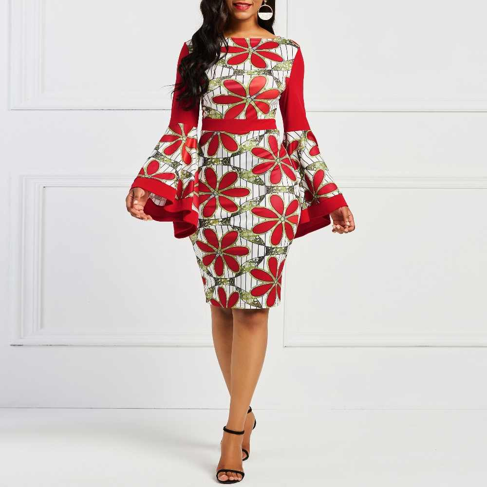 bcc0ab7479d ... Sisjuly Women Color Block Vintage Daisy Floral Red Bodycon Dress Flare  Sleeve Mid Long Party Work ...