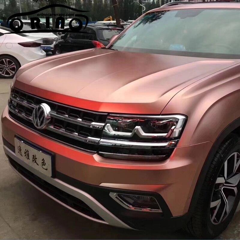 Meilleure qualité mat Satin métallique perle Rose or vinyle emballage Film rouleau Air bulle libre voiture Wrap feuille voiture autocollant 1.52*20 M