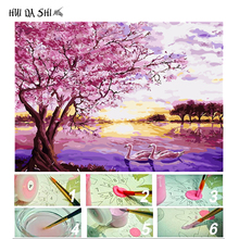 Pink Tree Sunset Diy Painting By Numbers Abstract Swan River Oil Painting On Canvas Cuadros Decor Acrylic Wall Picture Artwork