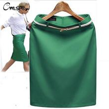 CWLSP 8 Color 2019 New Summer high waisted Skirt Women's OL Office Formal pencil Skirts Ladies saia with Belt Plus Size 3652
