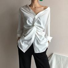 2019 wiosna i lato eleganckie kobiety koszule bawełniane przyczynowe koszule urząd Lady koszule pełne stałe V-Neck tanie tanio VANOVICH COTTON Poliester REGULAR Streetwear Batik Pełna NONE XS S M L Pure color Sleeve Head White 51 -70 Spring 2019