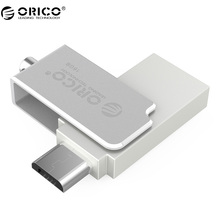 ORICO U2 Aluminum 2 in 1 Mini OTG U-disk 16G/32G for Phone Computer Tablet-Silver