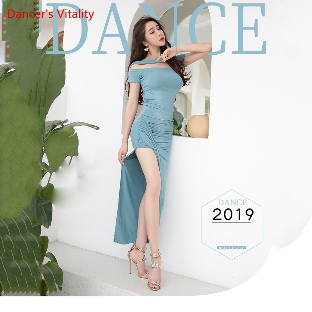 2019 New Women Belly Dance Clothes Set Summer Short-Sleeved Modal Cotton One-Shoulder Long Skirt Suit