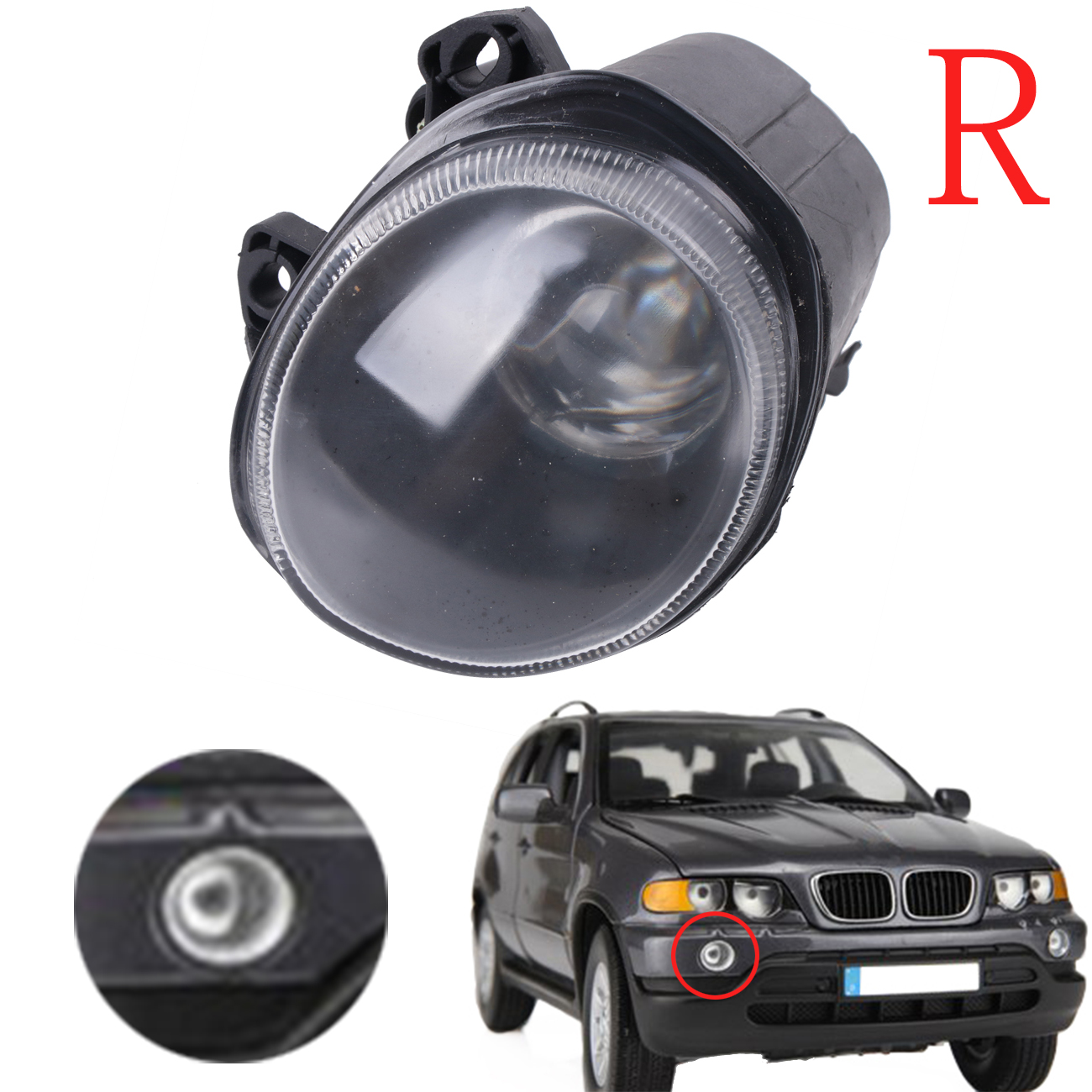 OEM 63178409026 Right Front Fog Light Clear Driving Lamp Foglamp Cover For BMW X5 E53 2000 2001 2002 Auto Car Stling #W087-R