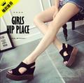 Нубук голова рыбы Клинья летние сандалии женщин 2016 натуральная кожа сандалии туфли на платформе туфли на высоких каблуках женщина сандалии