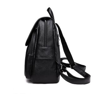 Image 3 - 2019 여성 가죽 배낭 여자를위한 고품질 여행 어깨 가방 여성 배낭 빈티지 bagpack cusual daypack rucksack