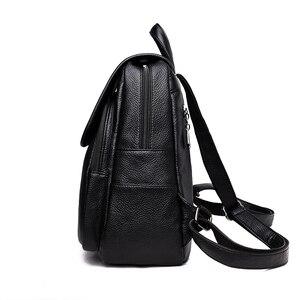 Image 3 - 2019 kobiet plecaki skórzane wysokiej jakości podróży torby na ramię kobiet plecak dla dziewczyny w stylu Vintage plecak dorywczo plecak na co dzień plecak