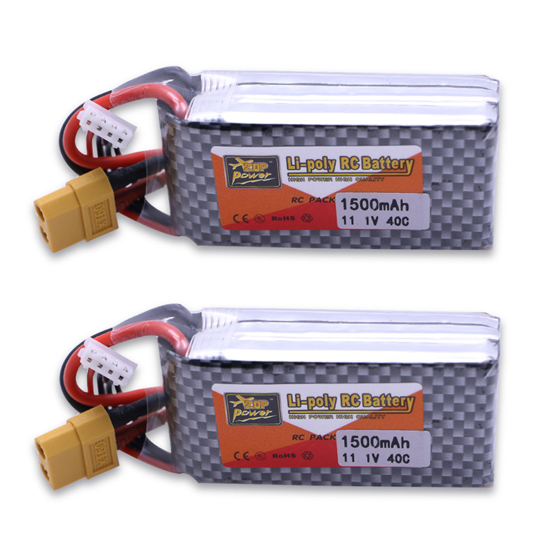 2pcs/lot Power <font><b>LiPo</b></font> Battery 11.1V <font><b>1500Mah</b></font> <font><b>3S</b></font> 40C MAX 60C T XT60 Plug For RC Car Airplane Helicopter Part Dropshipping Wholesale image