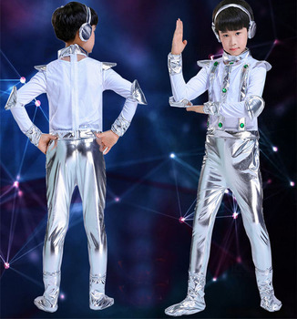 Kid-party-cosplay-robot-costume-astronaut-performance-space-stage-dance-wear-children-clothing-jumpsuit-skirt-clothes