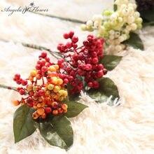 22 centímetros curto ramo de Feijão frutas artificiais baga Natal espuma único ramo da planta da flor DIY casamento casa garden decoração do escritório