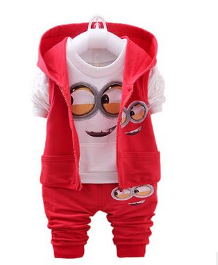 Newest 2016 Autumn Baby Girls Boys Minion Suits Infant/Newborn Clothes Sets Kids Vest+T Shirt+Pants 3 Pcs Sets Children Suit malayu baby kids clothing sets baby boys girls cartoon elephant cotton set autumn children clothes child t shirt pants suit