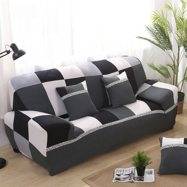 Modern Minimalist Sofa Set Stretch Stretching Double Slipcover Seat Plaid Detachable Couch Cover Livingroom Home Decoration