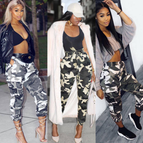 Fashion Womens Camo Long Trousers   Wide     Leg     Pants   Sweatpants Ladies High Waist Military Army Combat Camouflage Jeans   Pants