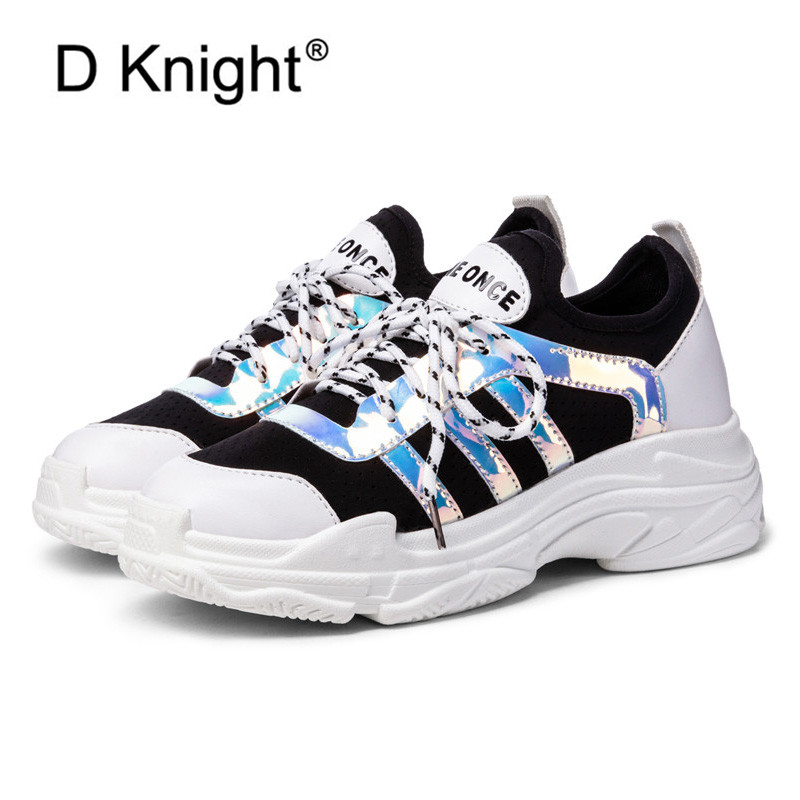 2019 Spring Summer Women Shoes Big Size 45 Woman Harajuku Flats Lace-Up Casual Fashion Sneakers Lady Creepers Platform Dad Shoes women creepers shoes 2015 summer breathable white gauze hollow platform shoes women fashion sandals x525 50