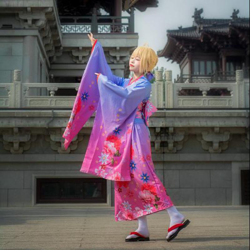 Elegant Girl Cherry Dance Costumes High Quality Japanese Style Kimono For Women Halloween Cosplay Clothing Casual Bath Robe Gown