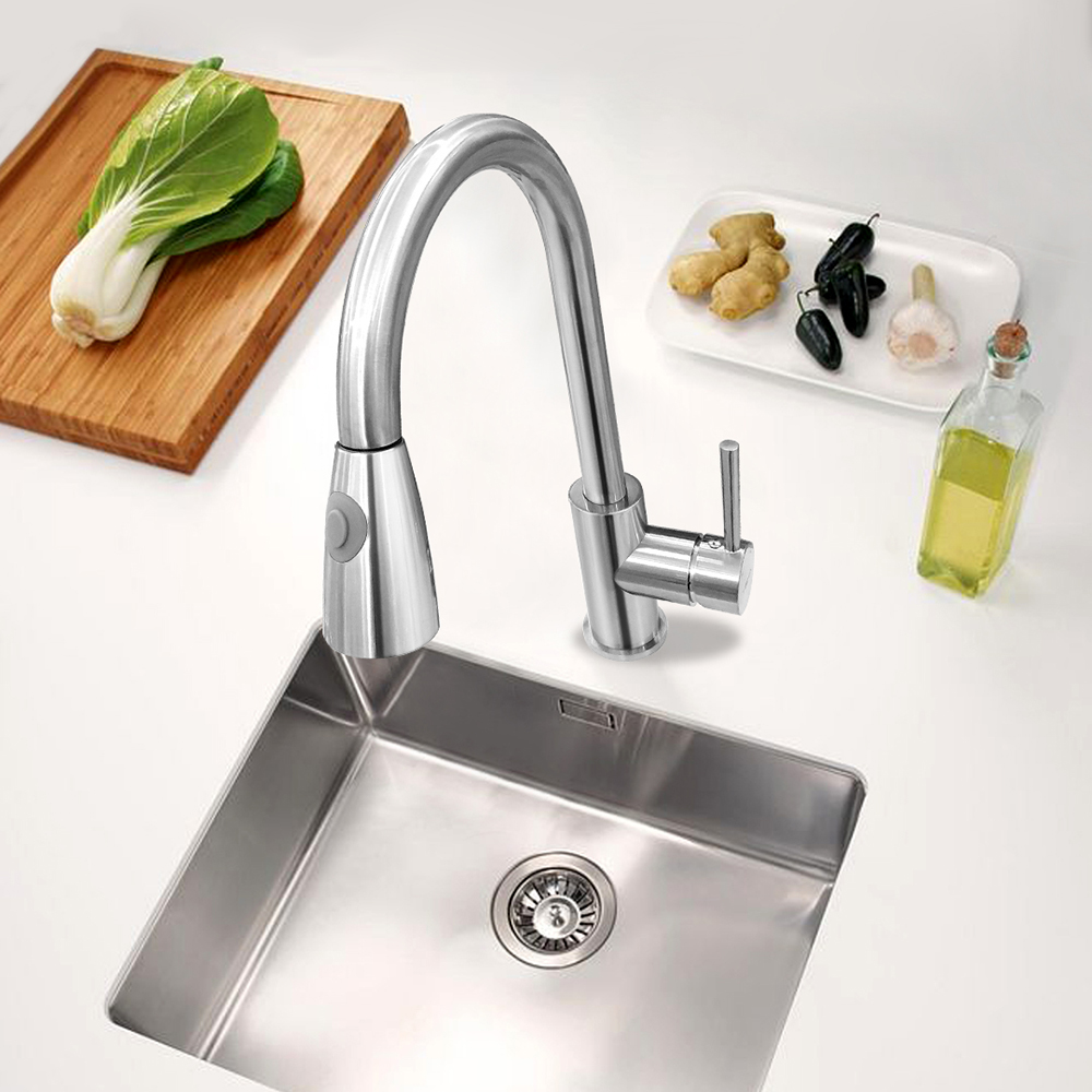BAKALA Newest Pull out Spray Kitchen Faucet Mixer Tap Brushed nickel single hand Stainless steel kitchen