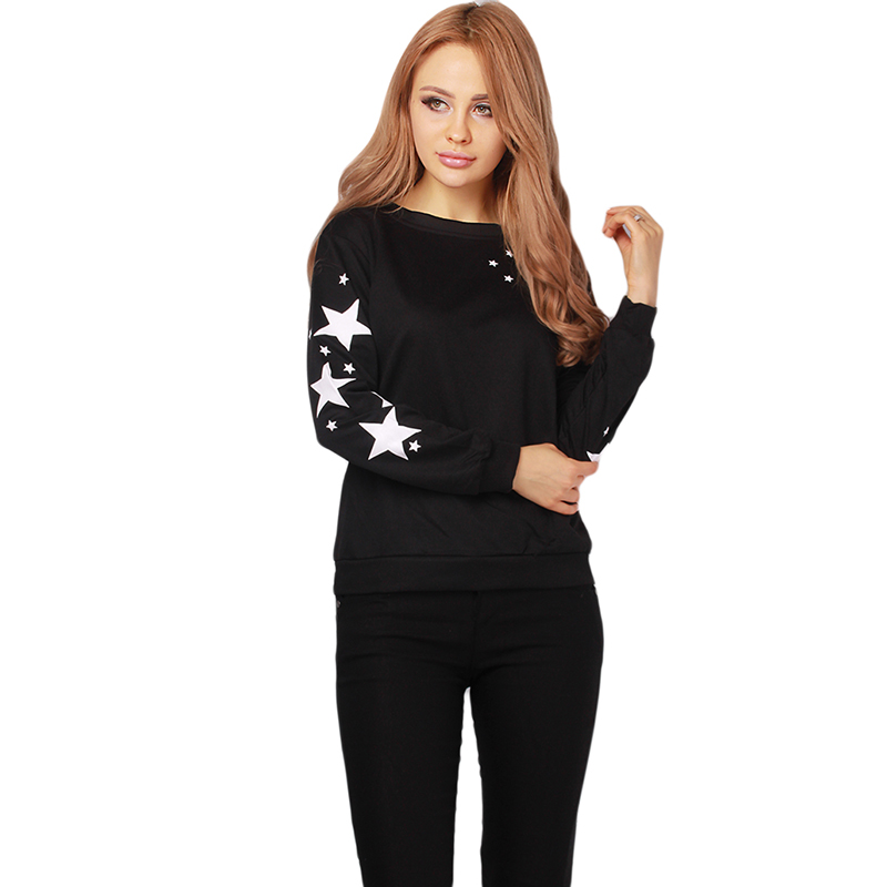 Fashion Star Printed Casual Sweatshirts Women Pullovers White Black sudaderas mujer Long Sleeve Tops Loose Hoddies HO861522