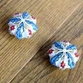 2PCS 48mm Hand painted Country Leaf Flower ceramic pumpkin knobs cabinet drawer handles pulls Furniture door Porcelain knobs