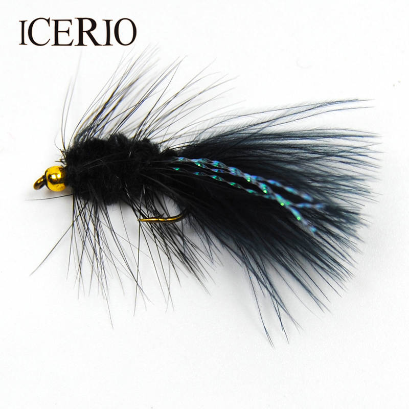 ICERIO 8PCS Bead Head Woolly Bugger Streamer Flies Flashabou Crystal Tail Salmon Fly Fishing Lures #8