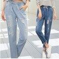 Calças de Brim novas Chegadas Mulheres Buracos Irregulares Tornozelo-Comprimento Denim Calças de Jeans Femininos Cintura Elástica Calças Soltas P8218