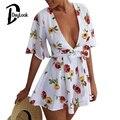 DayLook Summer Playsuit 2016 Loose Red Floral Plunge V Rompers Women Jumpsuit Flared Sleeves Bodysuit  Elegant Plus Size S-XL