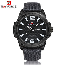 NAVIFORCE Mens Watches Top Brand Luxury Men Fashion Business Quartz Watch Male Nylon Strap Wristwatch with Date and Week Display(China)