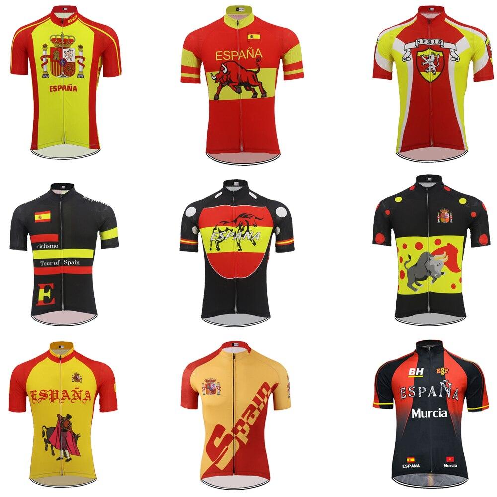 Espanha camisa de Ciclismo ropa ciclismo Homens de manga Curta desgaste  bicicleta jersey ESPANA Ciclismo roupas esportes Ao Ar Livre Respirável 9  estilo b57d39c2ea3ff
