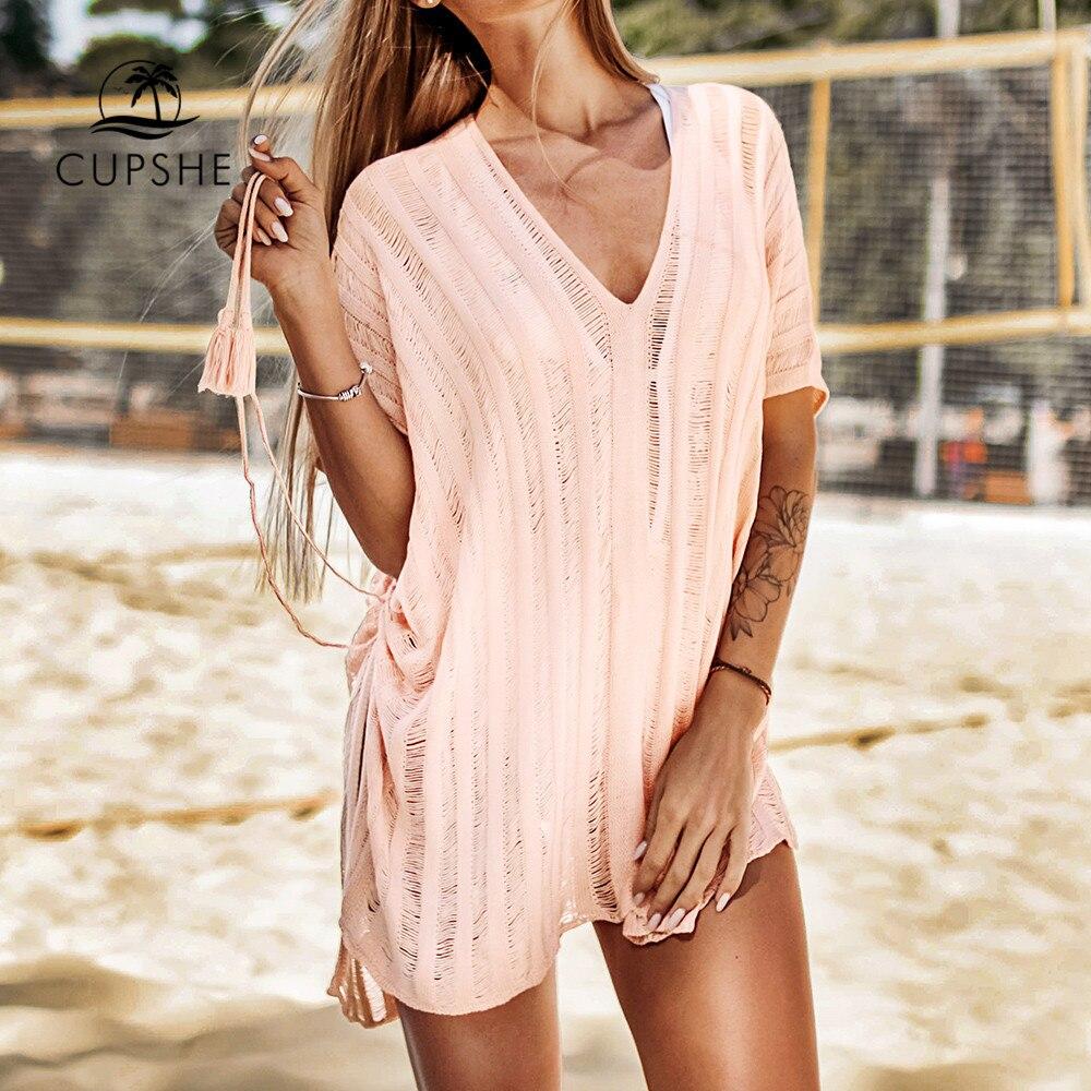 CUPSHE Pink / White Crochet Tassels Cover Up Sexy Cut Out V-neck Side-tie Women 2020 Summer Beach Dress Bathing Suit Beachwear