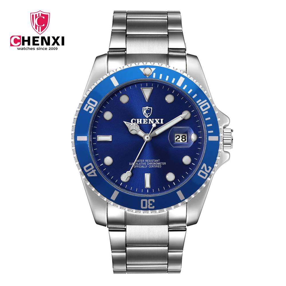 CHENXI Blue Men Dress Watch Silver Stainless Stain Waterproof Japan Quartz Luxury Business Wristwatch for Male Gift Clock đồng hồ gucci dây nam châm