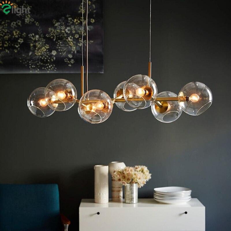 Straight 8/12 Light Glass Globe Beans Chandelier Drope Light For Dining Room Lustre E27 Led Chandelier Lamparas Lighting