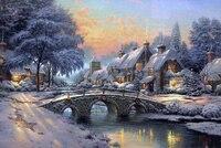 Oneroom dmc ponto cruz  thomas pintura inverno neve 14ct bordado kits artes cruz-costura  diy decoração artesanal 14ct)