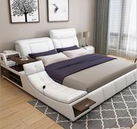 Real Genuine leather bed Soft Beds Bedroom camas lit muebles de dormitorio yatak mobilya quarto air cleaner massage storage