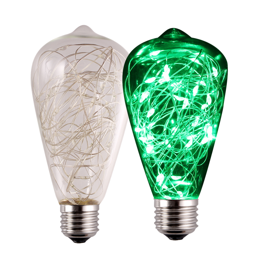 CF Grow ST64 E26 E27 High Transmittance LED Light Bulb Non-dimmable Clear Glass Copper Wire Stringlights 85~265V 2W With 30 LEDs
