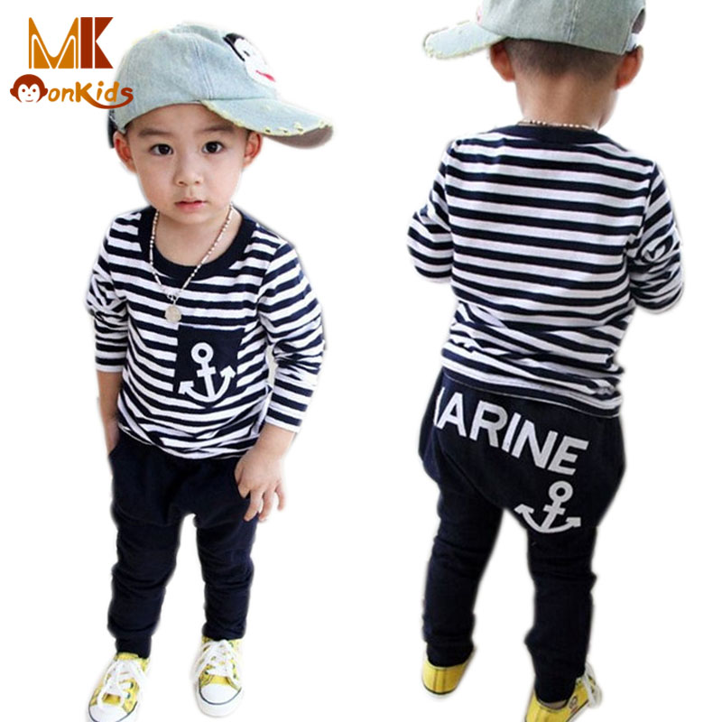 Monkids Hot Sale New 2016 Spring Kids Clothes, Navy Long Sleeve Pullover Striped Sports Suit, Casual Boys Clothing Set