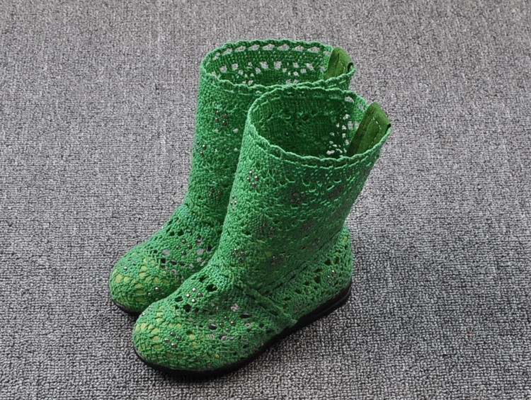 (A241)18 Classical Kids Shoes Summer Girls Boots Knitting Hollow Children Shoes Fashion Network Boots For Girls 11