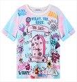 Envío Libre harajuku cremallera helado gradiente letras lápida cruz de manga corta T-shirt de la mujer tops