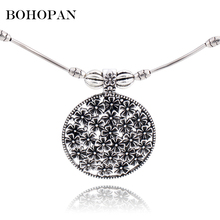 Ethnic Choker Necklace Women Fashion Hollow Out Pattern Pendants Silver Color Necklace Collares Statement Jewelry collane цена в Москве и Питере