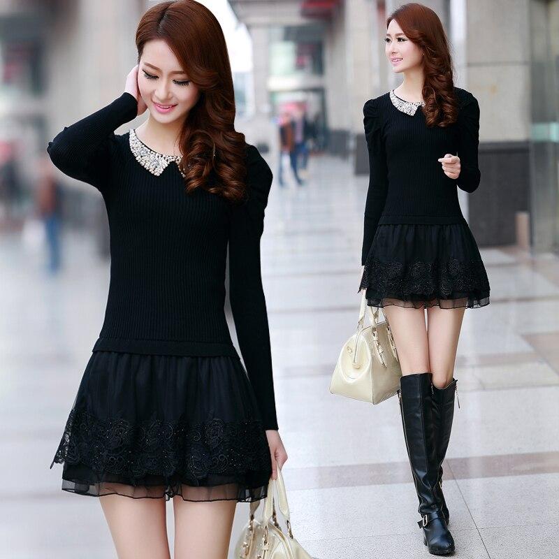 2016 Fashion Winter Dress Long Sleeve Women Casual Sweater Dresses Ruffle Basic One Piece