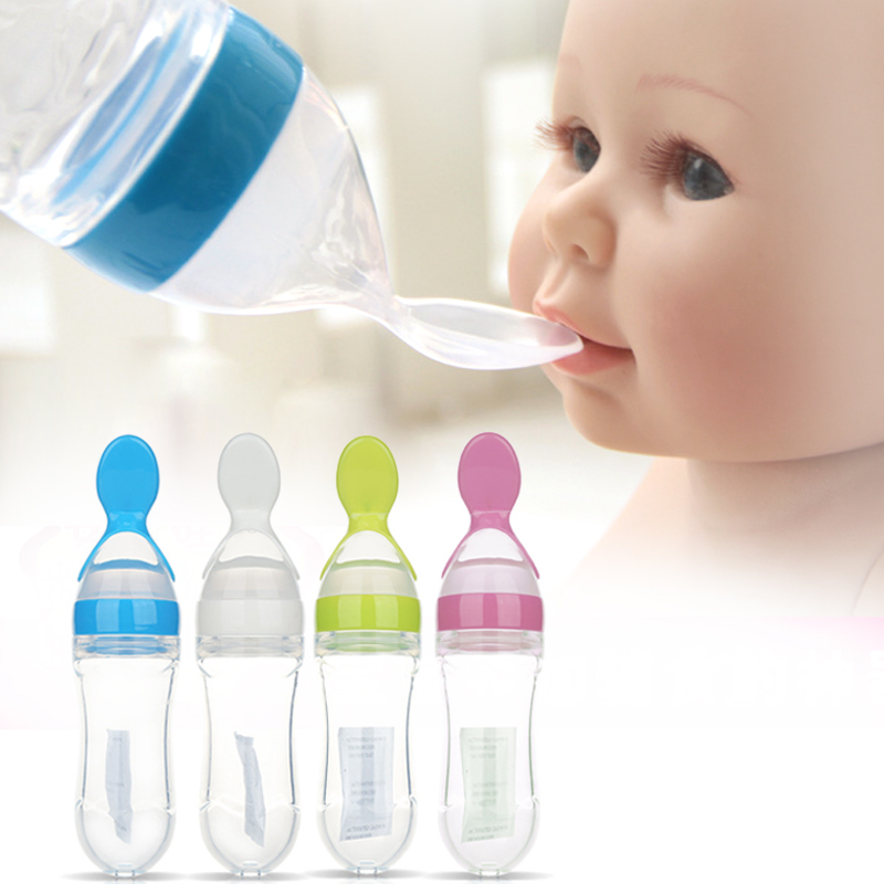 Infant Baby Silica Gel Feeding Bottle With Spoon Newborn