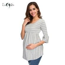 542a75011 De maternidad Tops embarazo blusa a rayas camiseta túnica 3 cuarto Casual  ropa de maternidad embarazada ropa de mujer