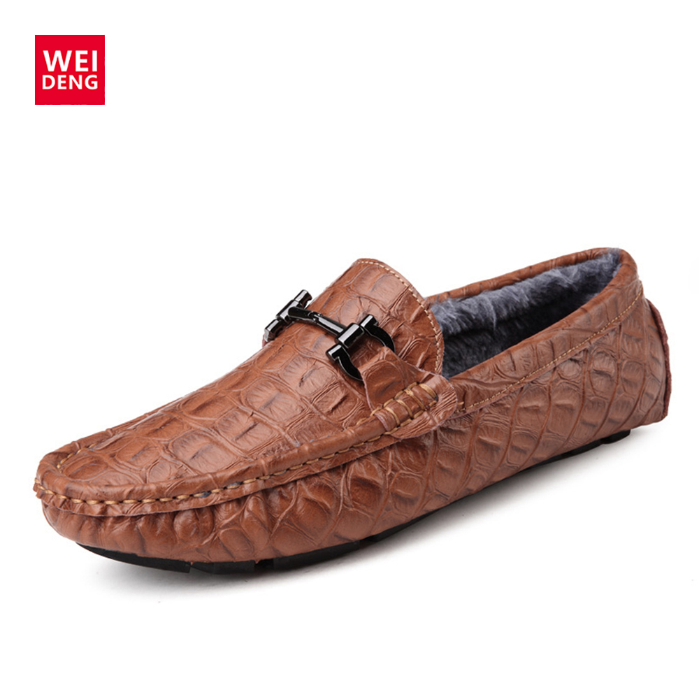 WeiDeng Cow Genuine Leather Loafers Soft Crocodile Patter Man Flats Driving Shoes Warm Plush Winter Casual Men Fashion Shoes fashion crocodile man casual shoes genuine leather cow comfortable loafers round toe designer brand men s business flats fd94
