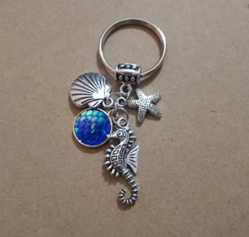 Sea turtle starfish shell Keychain Mermaid Scales Keychain Mermaid dark purple
