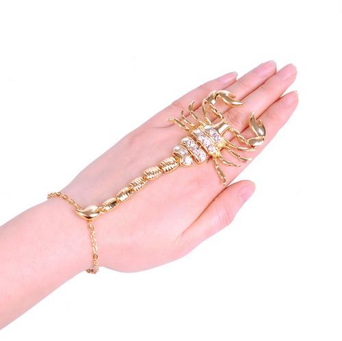 Goldtone Scorpion Adjustable Finger finger and Hand Chain combination Bracelet  Fashion charms Jewelry B007