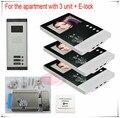 New Apartments 3 Units video door phone intercom doorbell home security 3V3 +Electronic lock 2 years warranty