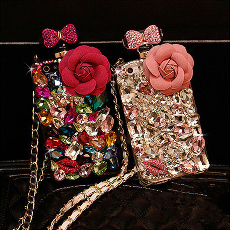For Samsung Note 8 9 S7 edge S8 S9 Plus Luxury Diamond Crystal Rhinestone Flower Perfume Bottle Soft Phone Case Cover