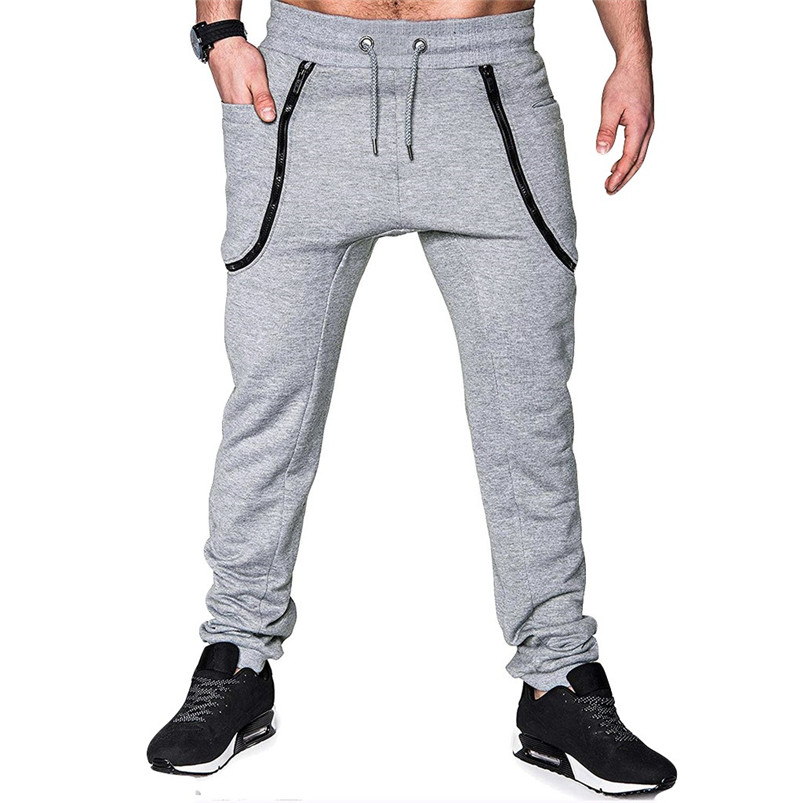 Men Pocket Pure Color Overalls Casual Pocket Sport Work Casual Trouser Pants Sports Running Accessories Pants 40LY05 (5)