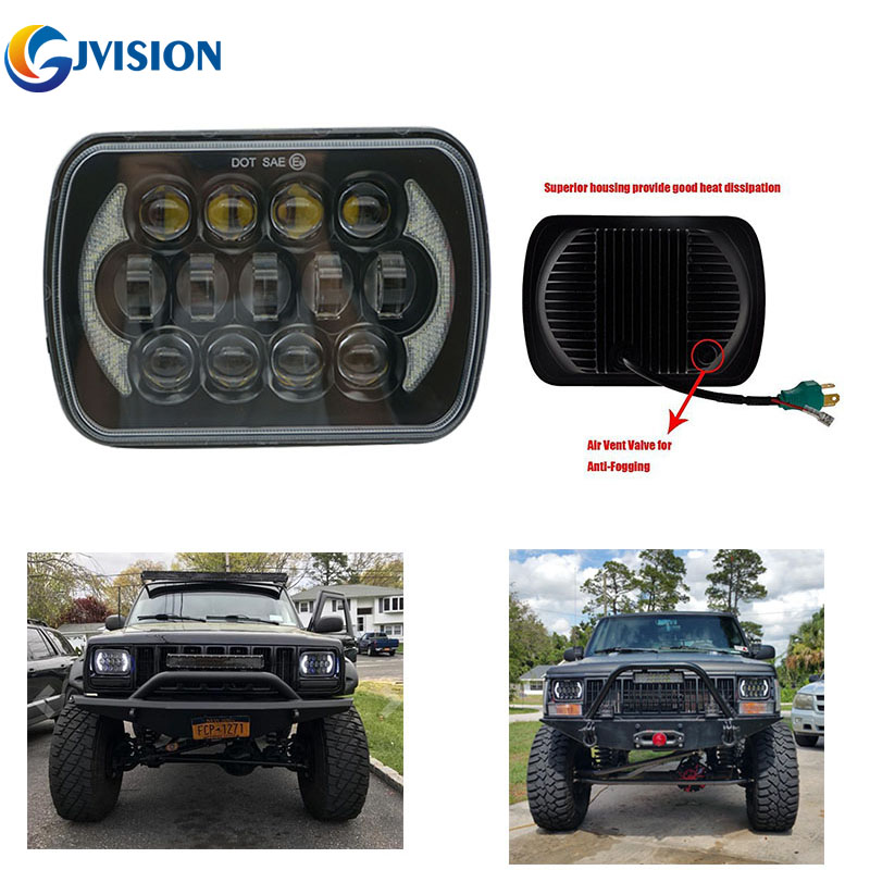 Square 85W 7'' INCH Truck light High Low Dual beam DRL led projector headlight for Jeep Cherokee XJ 5X7'' H4 Driving lights xuanba 2pcs 5 inch 35w led work light high low beam 12v 4x4 off road boat truck suv atv headlight for jeep 24v driving lights