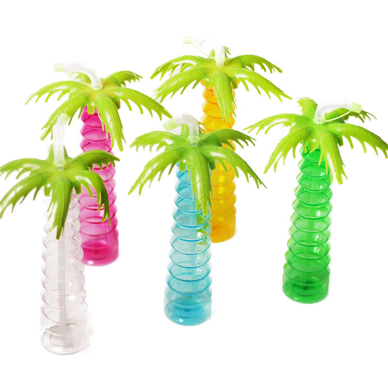 Tropical Luau Party Decorations Hawai Coconut Tree Cup Plastic Pineapple Cups Flamingo Straws For Summer Beach Campfire Party