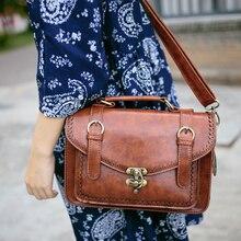 Винтаж в английском стиле японский Стиль Mori Girl сумка PU кожаные Сумка почтальоны Для женщин ручкой